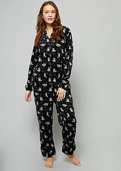 Black Raccoon Print Plush Pajama Onesie