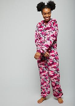 Pink Camo Print Plush Pajama Onesie