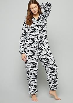 Gray Camo Print Plush Pajama Onesie