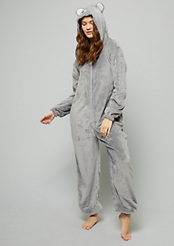 Gray Mouse Plush Pajama Onesie