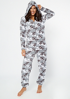 Gray Camo Print Hooded Plush Onesie