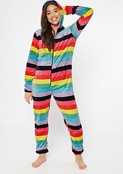 Rainbow Striped Hooded Plush Onesie