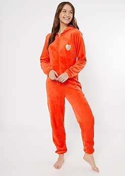Orange Fox Heart Hooded Plush Onesie