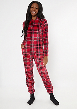 Red Plaid Plush Onesie