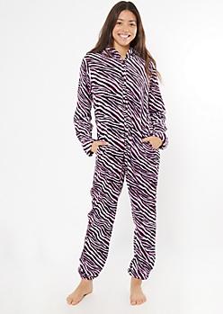 Pink Zebra Print Plush Onesie