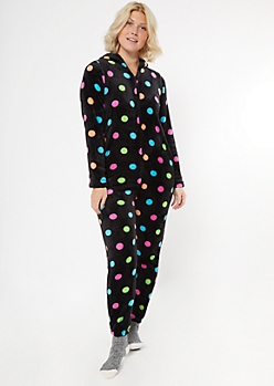 Black Rainbow Polka Dot Plush Onesie