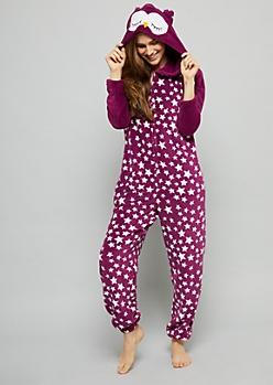 Purple Star Owl Plush Pajama Onesie