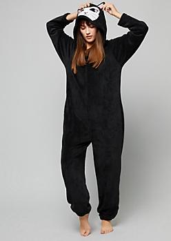 Black Cat Plush Pajama Onesie