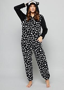 Black Star Owl Plush Pajama Onesie