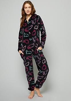Black Neon Dinosaur Print Plush Pajama Onesie
