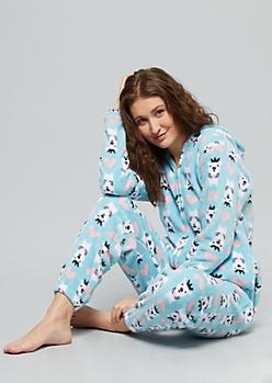 Blue Polar Bear Plush Zip Front Pajama Onesie
