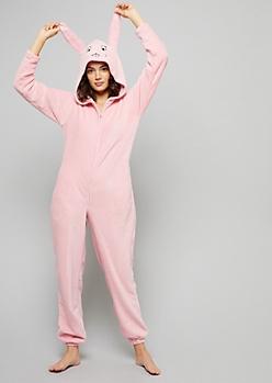 Pink Rabbit Plush Pajama Onesie