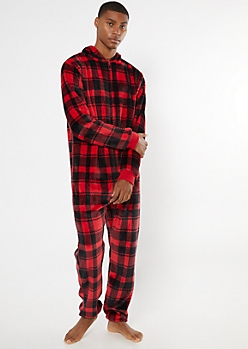 Red Buffalo Plaid Plush Onesie