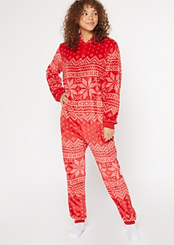 Red Fair Isle Plush Onesie