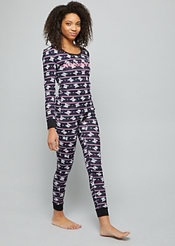 Black Koala Print Thermal Sleep Top