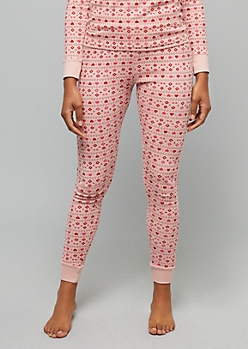 Pink Heart Print Thermal Sleep Leggings