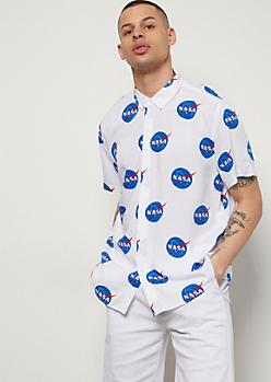 White NASA Print Woven Button Down Shirt
