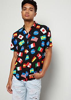 Black NASA Flag Print Button Down Shirt