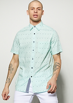 Mint Geometric Print Button Down Shirt