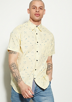 Yellow Arrow Print Button Down Shirt