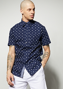 Navy Geometric Diamond Print Button Down Shirt