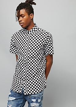 Checkered Print Short Sleeve Button Down Shirt