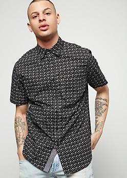 Black Needle Print Short Sleeve Button Down Shirt