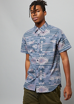 Blue Ikat Print Short Sleeve Button Down Shirt