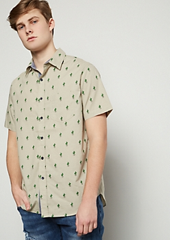 Sand Cactus Print Short Sleeve Button Down Shirt