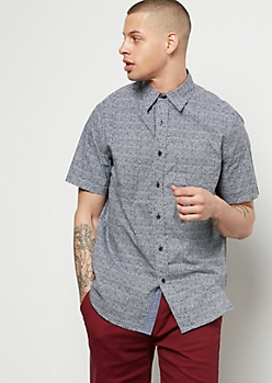 Gray Static Print Short Sleeve Button Down Shirt