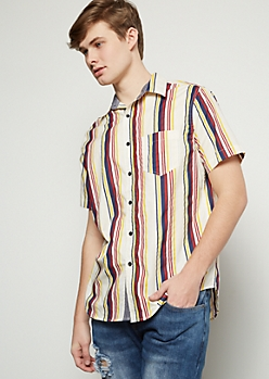 Oatmeal Retro Striped Short Sleeve Button Down Shirt