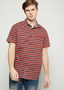 Red Retro Striped Short Sleeve Button Down Shirt
