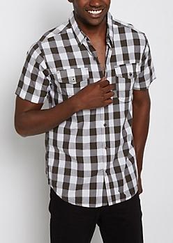 Gingham Print Short Sleeve Button Down Shirt