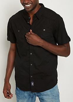 Black Poplin Button Down Shirt