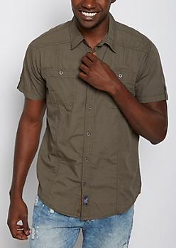 Olive Poplin Short Sleeve Shirt