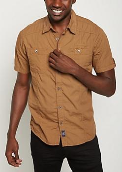 Khaki Washed Poplin Short Sleeve Shirt