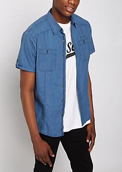 Blue Washed Poplin Short Sleeve Shirt