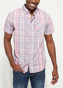 Red Faded Plaid Print Button Down Shirt