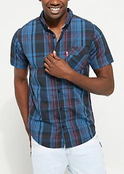 Burgundy Short Sleeve Plaid Button Down Shirt