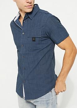 Dark Blue Buttoned Short Sleeve Shirt
