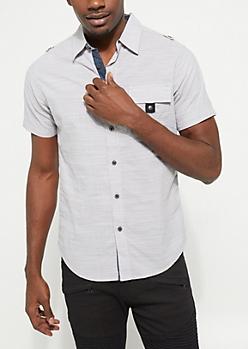 Silver Buttoned Short Sleeve Shirt