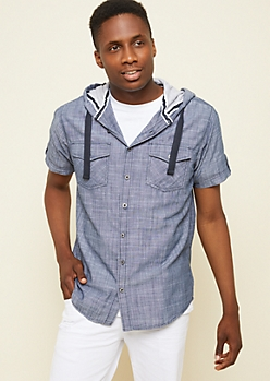 Dark Wash Button Down Hooded Chambray Shirt