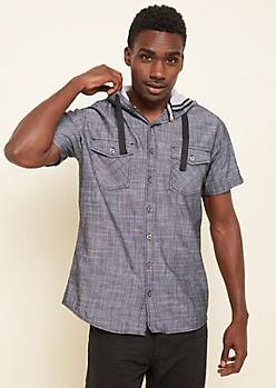Washed Black Short Sleeve Hooded Button Down Shirt