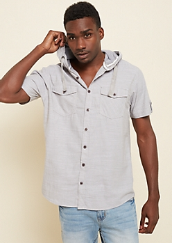 Silver Short Sleeve Hooded Button Down Shirt