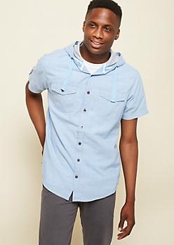 Light Blue Cross Hatch Hooded Chambray Shirt