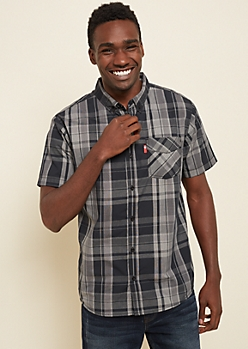Black Plaid Pattern Western Button Down Shirt