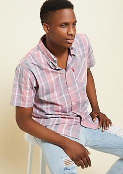 Red Plaid Print Pocket Button Down Shirt