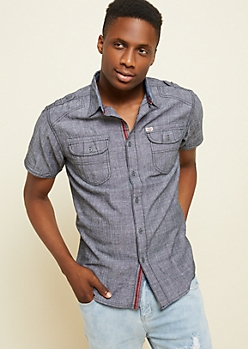 Black Buttoned Double Pocket Chambray Shirt