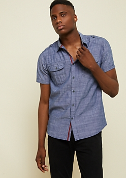 Navy Buttoned Double Pocket Chambray Shirt