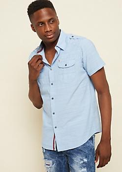 Light Blue Cross Hatch Chambray Shirt
